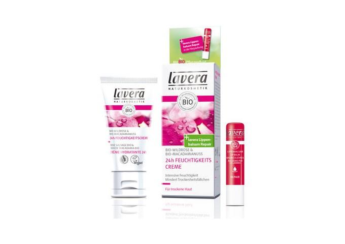Crema idratante bio e balsamo labbra alla rosa - Lavera
